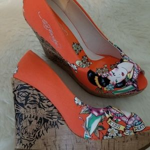 NWOT Ed Hardy wedge shoes